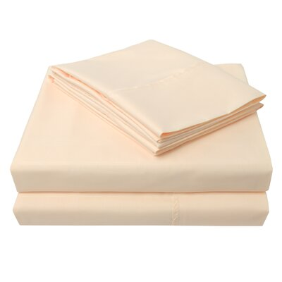 Connie Windowpane Embossed Microfiber Sheet Set Color: Ivory, Size: Full