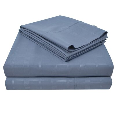 Connie Windowpane Embossed Microfiber Sheet Set Size: Twin, Color: Navy Blue