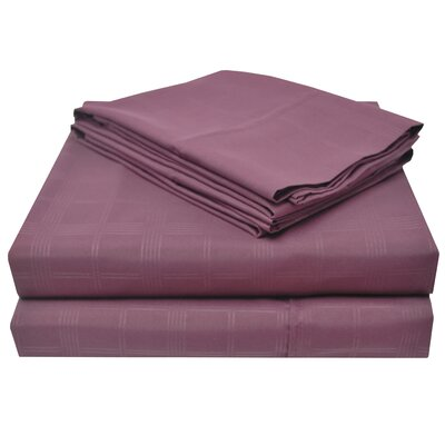 Connie Windowpane Embossed Microfiber Sheet Set Color: Plum, Size: Queen