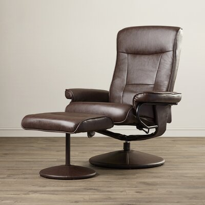 Holden Heated Faux Leather Reclining Massage Chair & Ottoman Upholstery: Brown