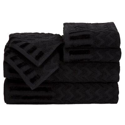 Regina 6 Piece Chevron Towel Set Color: Black