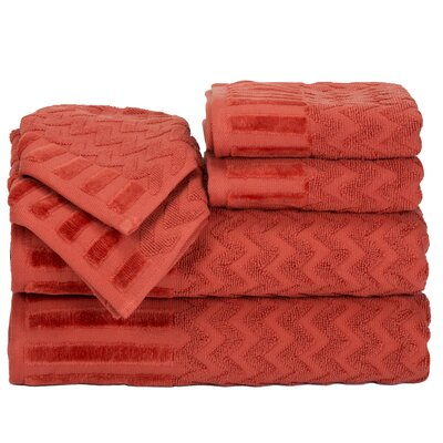 Regina 6 Piece Chevron Towel Set Color: Brick