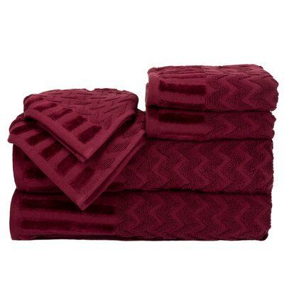 Regina 6 Piece Chevron Towel Set Color: Burgundy