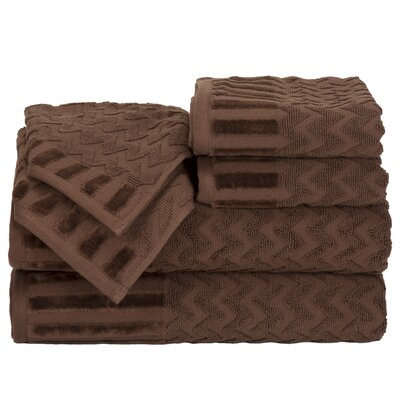 Regina 6 Piece Chevron Towel Set Color: Chocolate