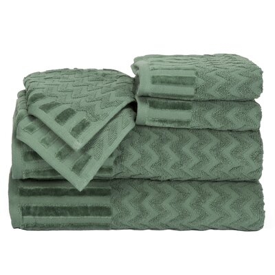 Regina 6 Piece Chevron Towel Set Color: Green