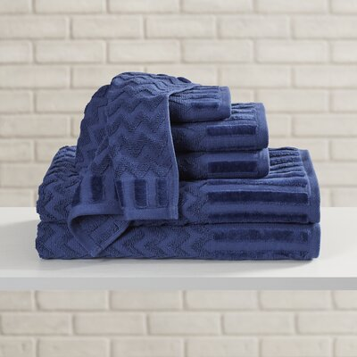 Regina 6 Piece Chevron Towel Set Color: Navy