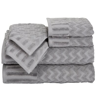 Regina 6 Piece Chevron Towel Set Color: Silver