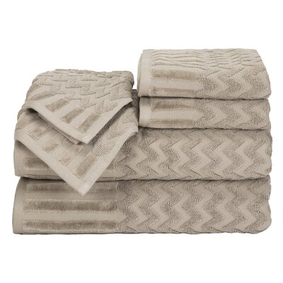 Regina 6 Piece Chevron Towel Set Color: Taupe