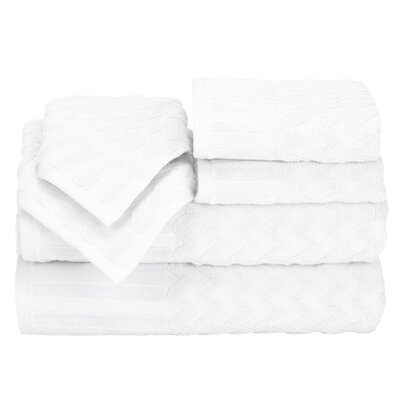 Regina 6 Piece Chevron Towel Set Color: White