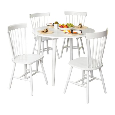 Vanessa 5 Piece Dining Set Chair Finish: White