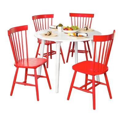 Vanessa 5 Piece Dining Set Chair Finish: Red