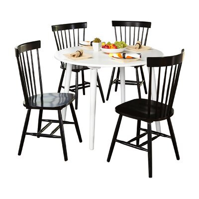 Vanessa 5 Piece Dining Set Chair Finish: Black