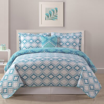 Sarah Quilt Color: Aqua, Size: Full/Queen XL