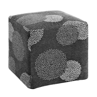 Doris Sunflower Cube Ottoman Upholstery: Charcoal/White