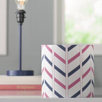Ida Stripe 8 Cotton Drum Lamp Shade Shade: Navy Blue / Pink