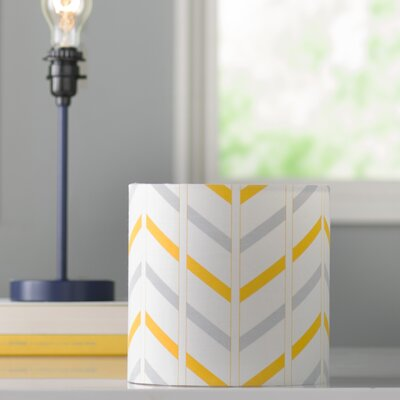 Ida Stripe 8 Cotton Drum Lamp Shade Shade: Gray / Yellow