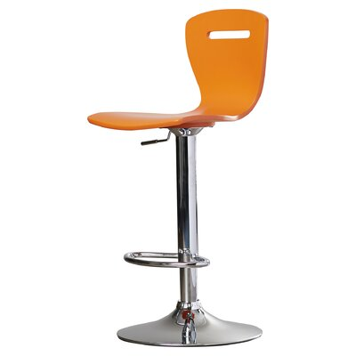 Georgia Adjustable Height Swivel Bar Stool Finish: Orange
