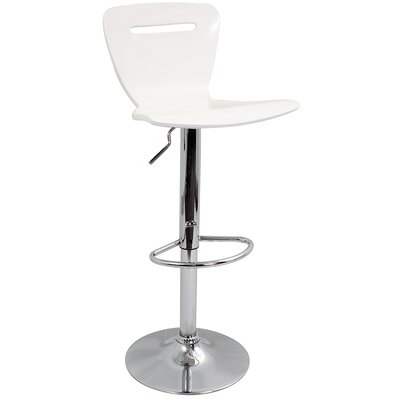Georgia Adjustable Height Swivel Bar Stool Finish: White