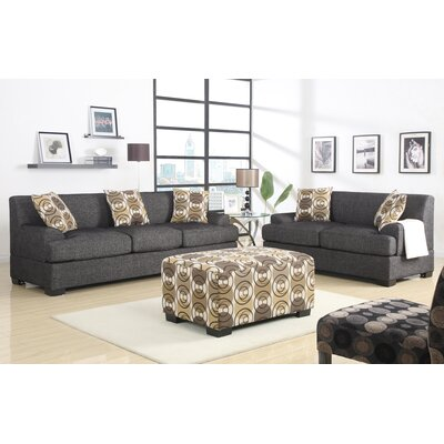 Mila 2 Piece Living Room Set Upholstery: Faux Linen Ash Black