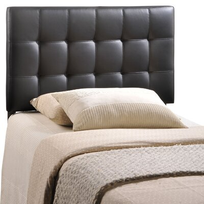 Francis Upholstered Panel Headboard Size: King, Upholstery: Black