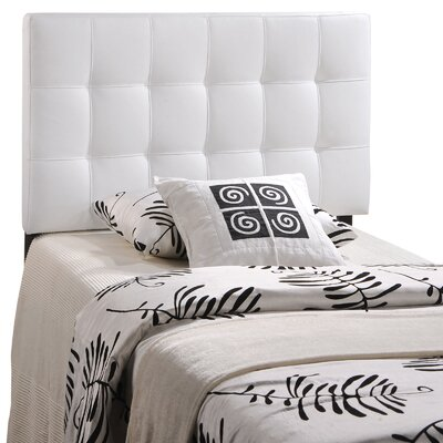 Francis Upholstered Panel Headboard Size: Twin, Upholstery: White