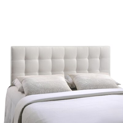 Francis Upholstered Panel Headboard Size: King, Upholstery: White