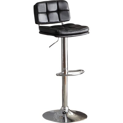 Maria Adjustable Height Swivel Bar Stool (Set of 2) Upholstery: Black
