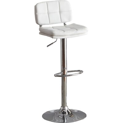 Maria Adjustable Height Swivel Bar Stool (Set of 2) Upholstery: White