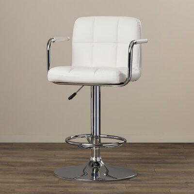 Faith Adjustable Height Swivel Bar Stool Upholstery: White