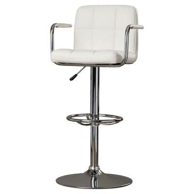 Faith Adjustable Height Swivel Bar Stool Upholstery: White