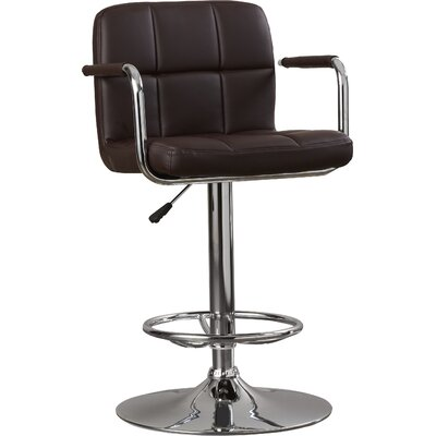 Faith Adjustable Height Swivel Bar Stool Upholstery: Brown