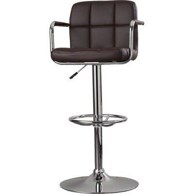 Faith Adjustable Height Swivel Bar Stool Upholstery: Brown