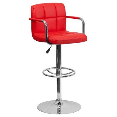 Faith Adjustable Height Swivel Bar Stool Upholstery: Red