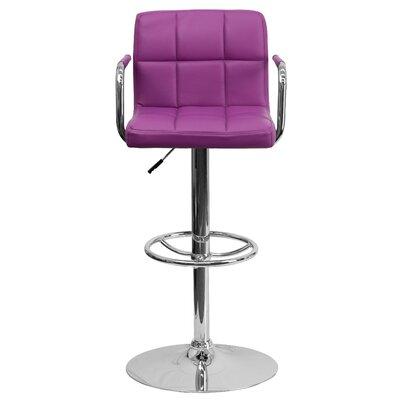 Faith Adjustable Height Swivel Bar Stool Upholstery: Purple