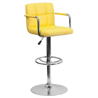 Faith Adjustable Height Swivel Bar Stool Upholstery: Yellow