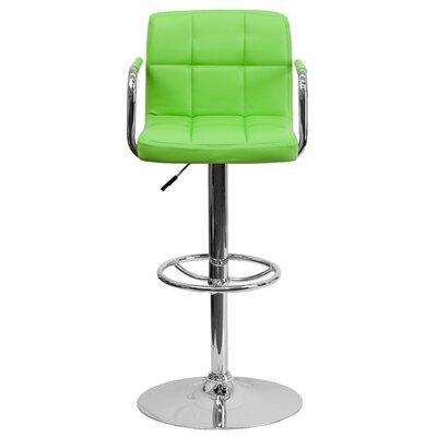 Faith Adjustable Height Swivel Bar Stool Upholstery: Green