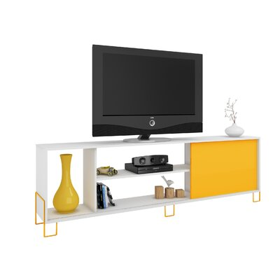 Erica 71 TV Stand Color: White/Yellow