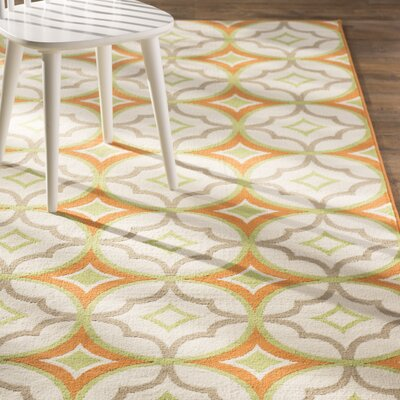 Bowman White/Orange Indoor/Outdoor Area Rug Rug Size: Runner 23 x 77