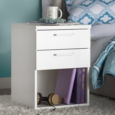 Shelby 2 Drawer Nightstand Color: White