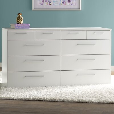 Shelby 10 Drawer Double Dresser Color: White