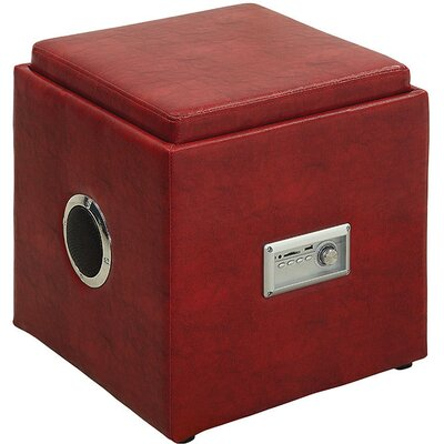 Waller Leather Speaker Ottoman Upholstery: Red