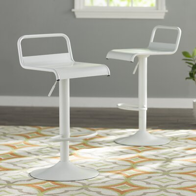 Willa Adjustable Height Swivel Bar Stool Upholstery: White