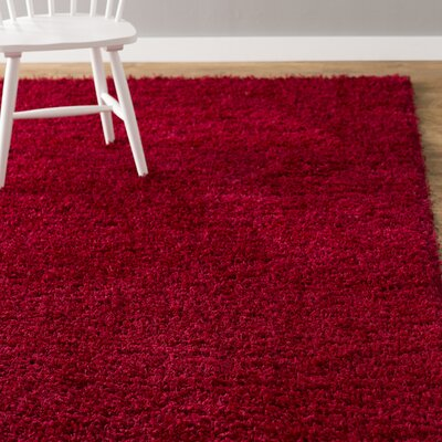 Madison Basic Red Area Rug Rug Size: Round 82 x 82, Color: Red