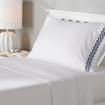 Mariana Wave Embroidery 1800 Series Sheet Set Size: King, Color: Navy