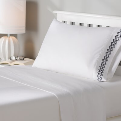Mariana Wave Embroidery 1800 Series Sheet Set Size: Twin XL, Color: Gray