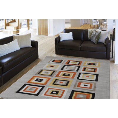 Alexia Orange Area Rug Rug Size: Rectangle 52 x 72