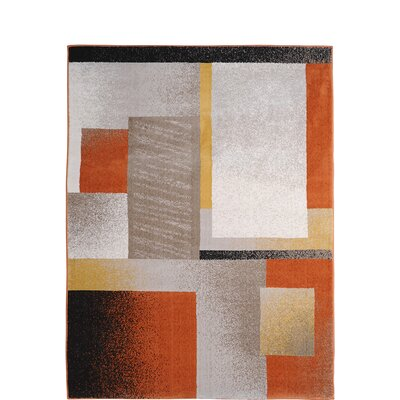 Alexia Orange Area Rug Rug Size: 33 x 52