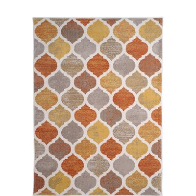 Alexia Beige/Orange Area Rug Rug Size: 52 x 72