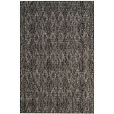 Lefferts Black Indoor/Outdoor Area Rug Rug Size: Rectangle 53 x 77