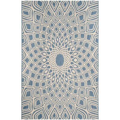 Mullen Geometric Blue/Beige Indoor/Outdoor Area Rug Rug Size: Rectangle 27 x 5